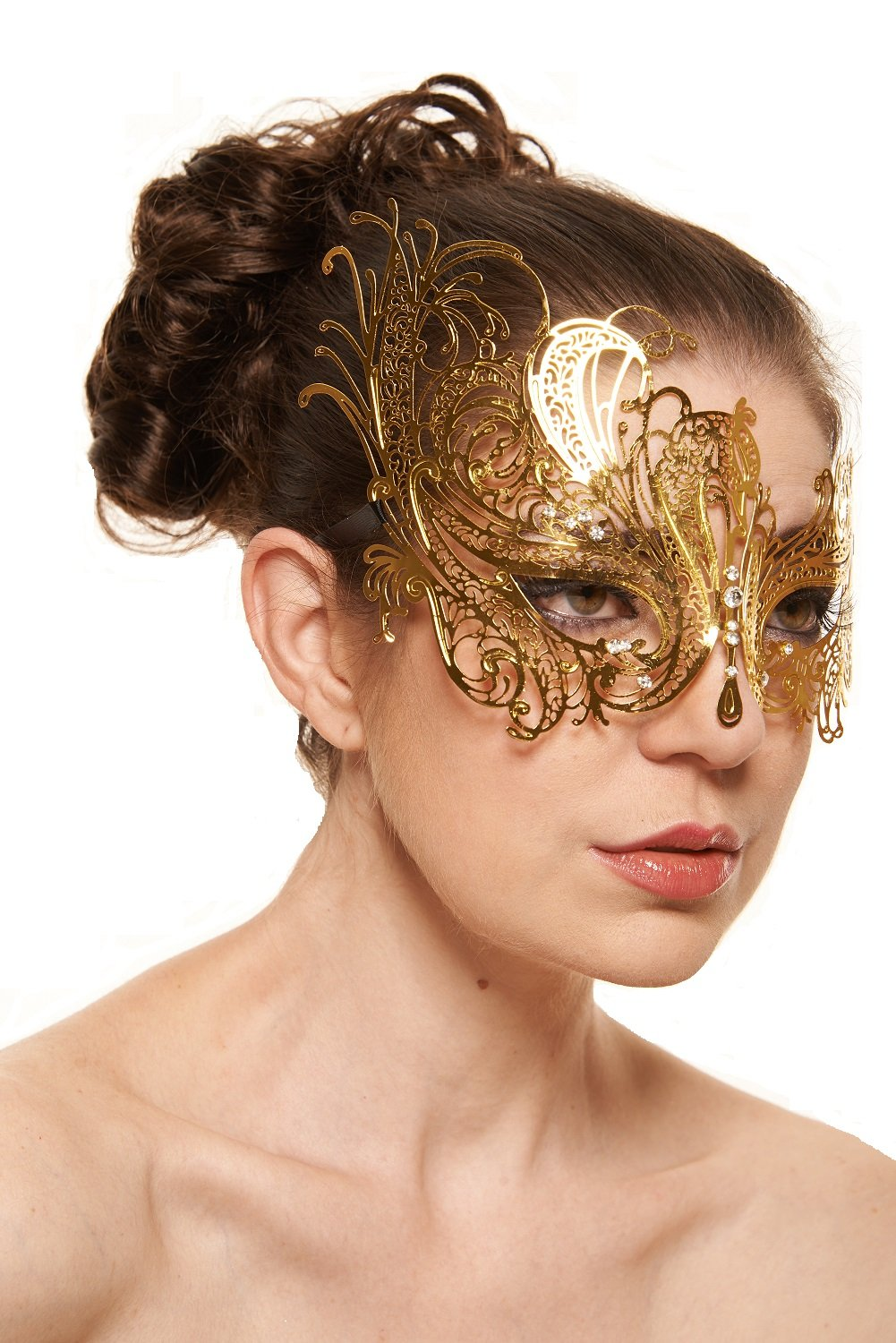 Graceful Swan Gold Masquerade Mask (Clear Rhinestones; One Size Fits All)