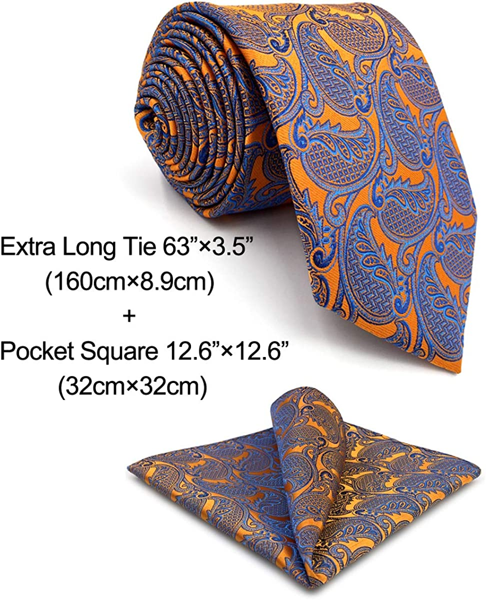 shlax/&wing Mens Tie Necktie Paisley Orange Blue