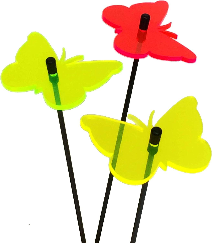 SunCatcher Set of 3: Butterfly | 60mm / 2,36'' Ø fluorescent garden ornament | GLOWING GARDEN DECORATION on stick | innovative Home Decor for garden balcony terrace, Colour:red / yellow / green