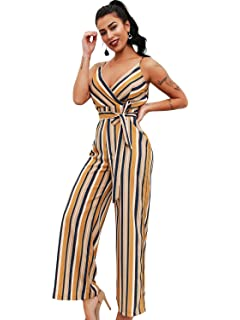 d585c9e5291 Glamaker Women s Sexy V Neck Striped Long Strap Jumpsuit Rompers with Belts
