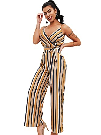 be4ae8ba3bb Glamaker Women s Sexy V Neck Striped Long Strap Jumpsuit Rompers with  Belts