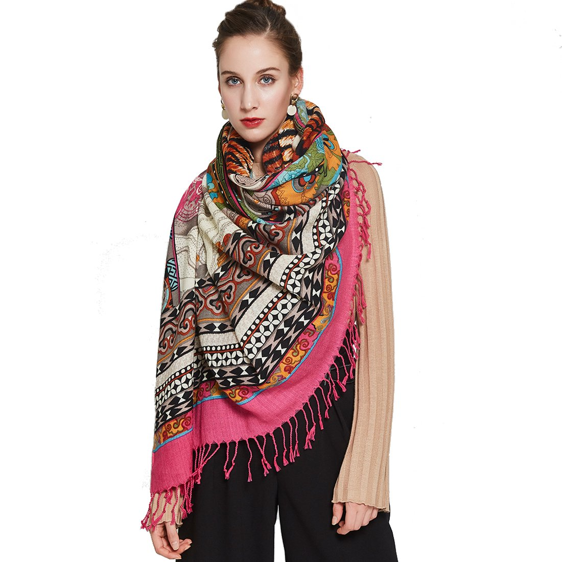 White DANA XU Pure Wool Ponchos Blanket for Women Large Pashmina Shawls and Wraps (Watermelon red)