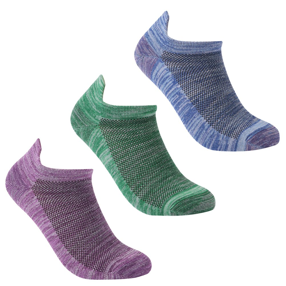 luccalilyユニセックスヒールタブMoisture Wickingローカットカジュアルスポーツ靴下1 , 3ペア B079DMKSX8 Small|#3 pairs sky blue/purple/green #3 pairs sky blue/purple/green Small