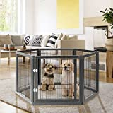 YOLENY 31.5 Inches Tall Pet Playpen with Pine Solid Wood and Wire, 6 Panels Freestanding Dog Gate with Walk Through Door, Saf