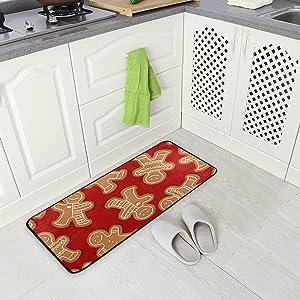 "Kitchen Rugs Christmas Gingerbread Cookies Design Non-Slip Soft Kitchen Mats Bath Rug Runner Doormats Carpet for Home Decor, 39"" X 20"""