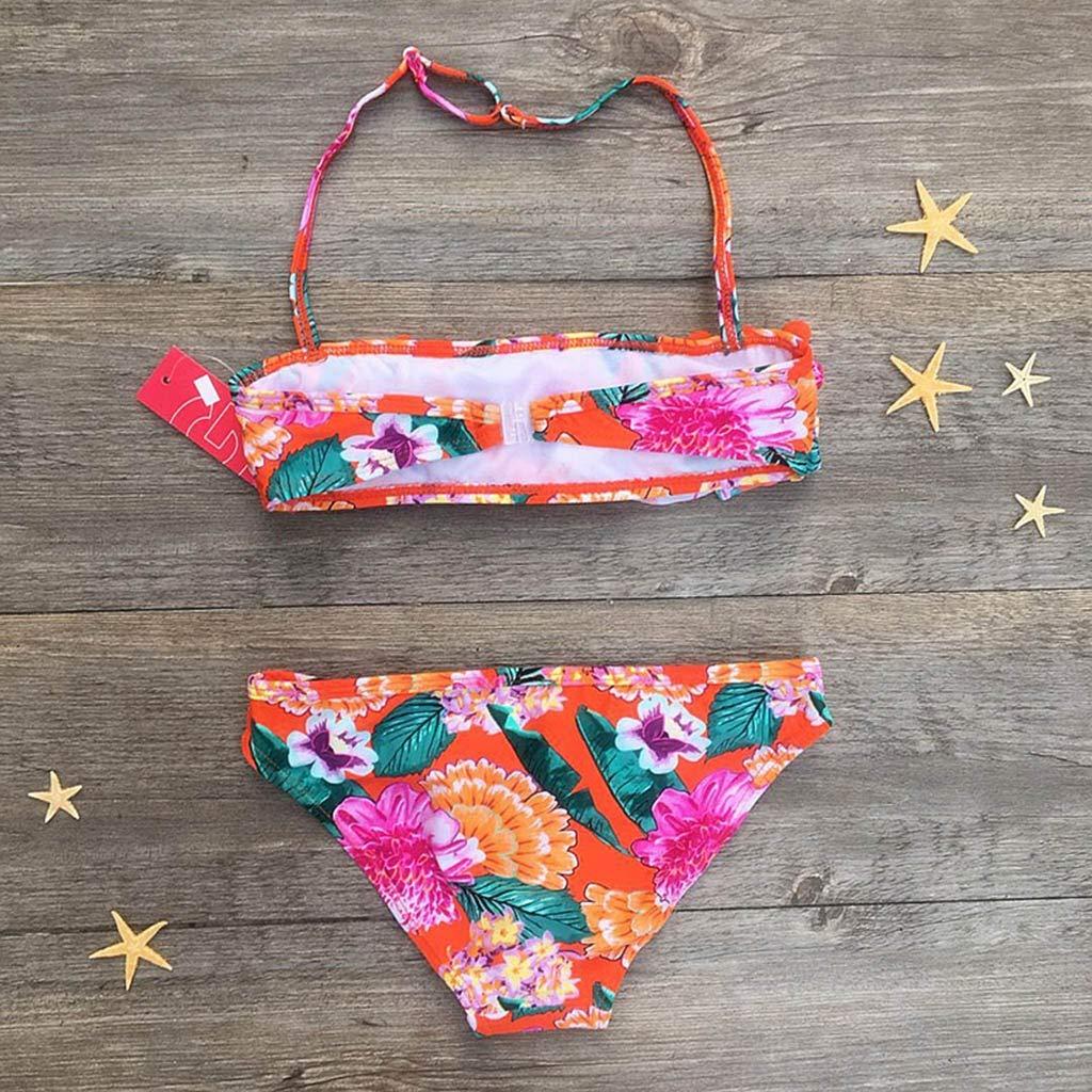 Lanhui Baby Girl Hairball Ruched Bikini Set Children Swimwear Bathing Swimsuit Clothes