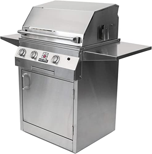 Solaire 27-Inch Deluxe Infrared Natural Gas Grill on Square Cart Base with Rotisserie Kit, Stainless Steel