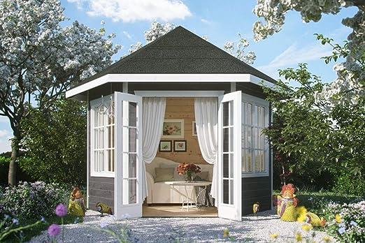 Skan Holz Cabaña Madera Carpa almelo 28 mm, Casas de jardín, Color Gris, 303 x 350 x 354 cm: Amazon.es: Jardín