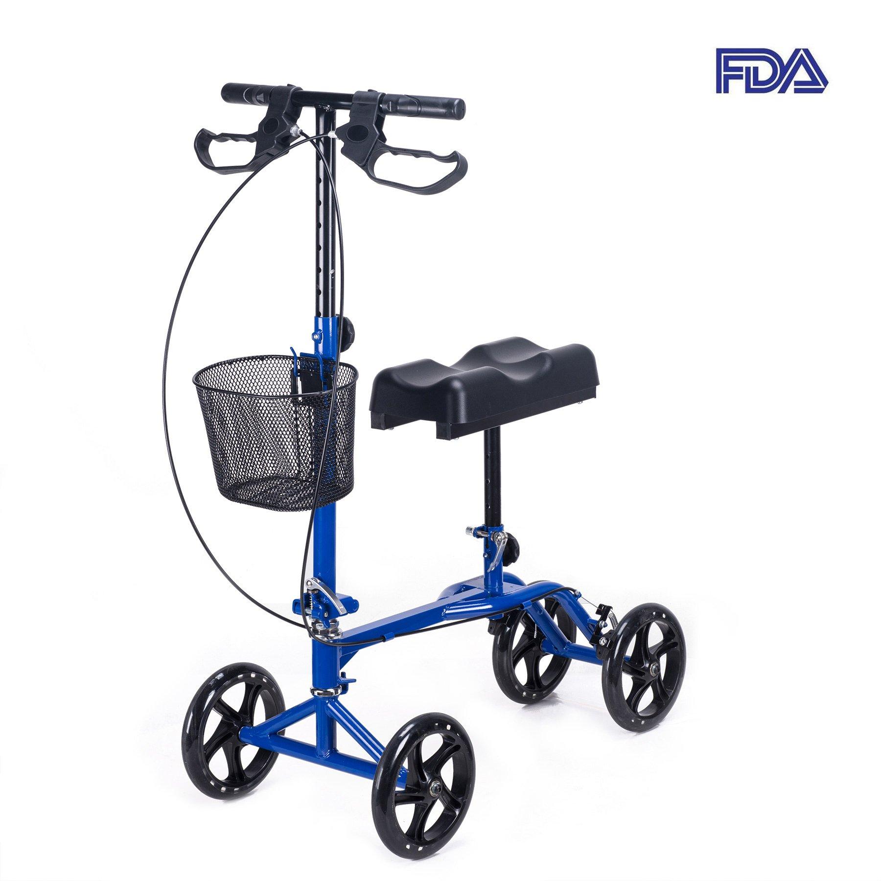 CO-Z Steerable Foldable Knee Walker Roller Scooter with Basket, 8'' Antiskid Rubber Wheels, Safety Double Brakes, Leg Walker Crutch (Blue)