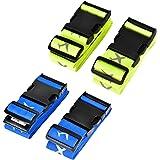 TechSmile 4-Stück Koffergurt Gepäckgurt Kofferband (blau + Fluoreszierend gelb)
