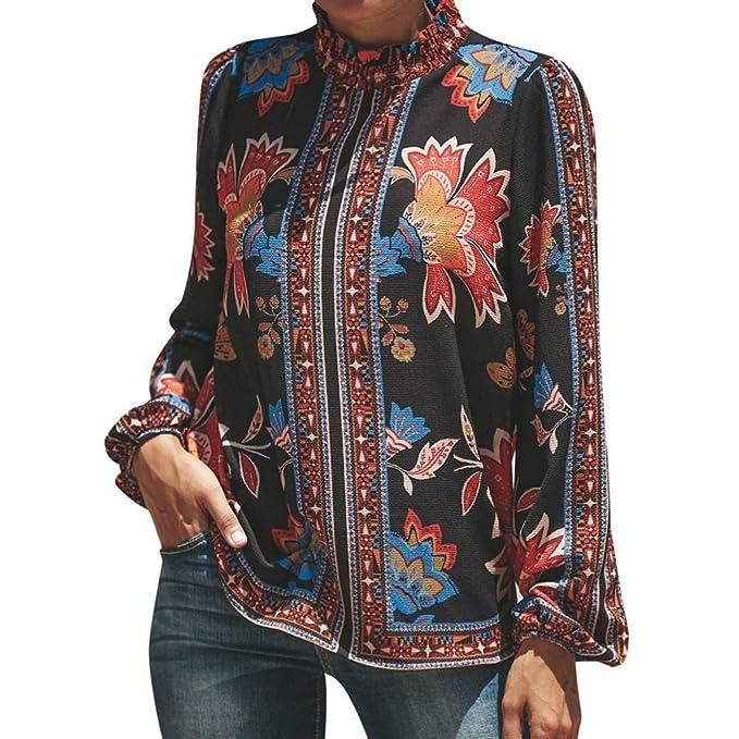 BaZhaHei Blouse, Camisetas Mujer de chifón con Cuello Alto y Manga Larga Estampada para Mujer