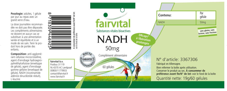 NADH - 60 cápsulas 50 mg, con liberación prolongada, dosis alta, coenzima rápidamente vigorizante: Amazon.es: Salud y cuidado personal
