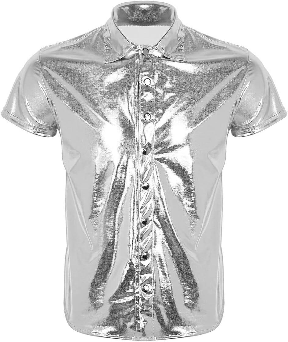 Moda transpirable Trajes masculinos Hombres reflexiva mirada mojada manga corta charol de baile latino camisa del club nocturno del partido Undershirt puesta en escena (Color : Silver , Size : L) : Amazon.es: Hogar