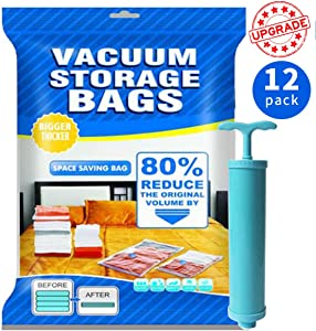 Upgrade Vacumn Storage Bags,12 Pack(3 x Jumbo,Large, Medium,Small) 80% More Space Saver Sealed Vaccume Bags for Clothes, Comforters, Mattress ,Pillows -Travel Hand Pump Included, Double-Zip Seal Lock