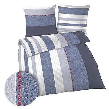 Bettwäsche 2tlg Blau Weiß Grau Streifen Gestreift 135x200 Cm Biber