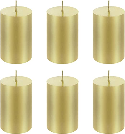 "Unscented 2/""x 9/"" Hand Poured RND Premium Pillar Candle Ivory 6PCS Mega Candles"