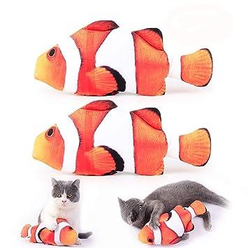 Juguetes para gatos, gatitos, gatitos, juguetes de pesca, simulación, peluche, forma de pez, 2 unidades: Amazon.es: Productos para mascotas