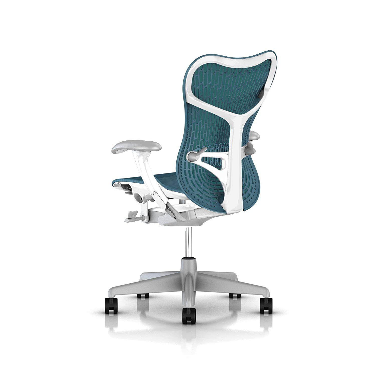 Herman miller chair - Amazon Com Herman Miller Mirra 2 Office Chair Tilt Limiter Adjustable Arms And Seat Dark Turquoise Butterfly Suspension Latitude Back With Studio White
