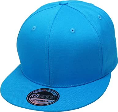 Small Plain Sky Blue Hat Flat Peak Fitted Baseball Cap 7/""