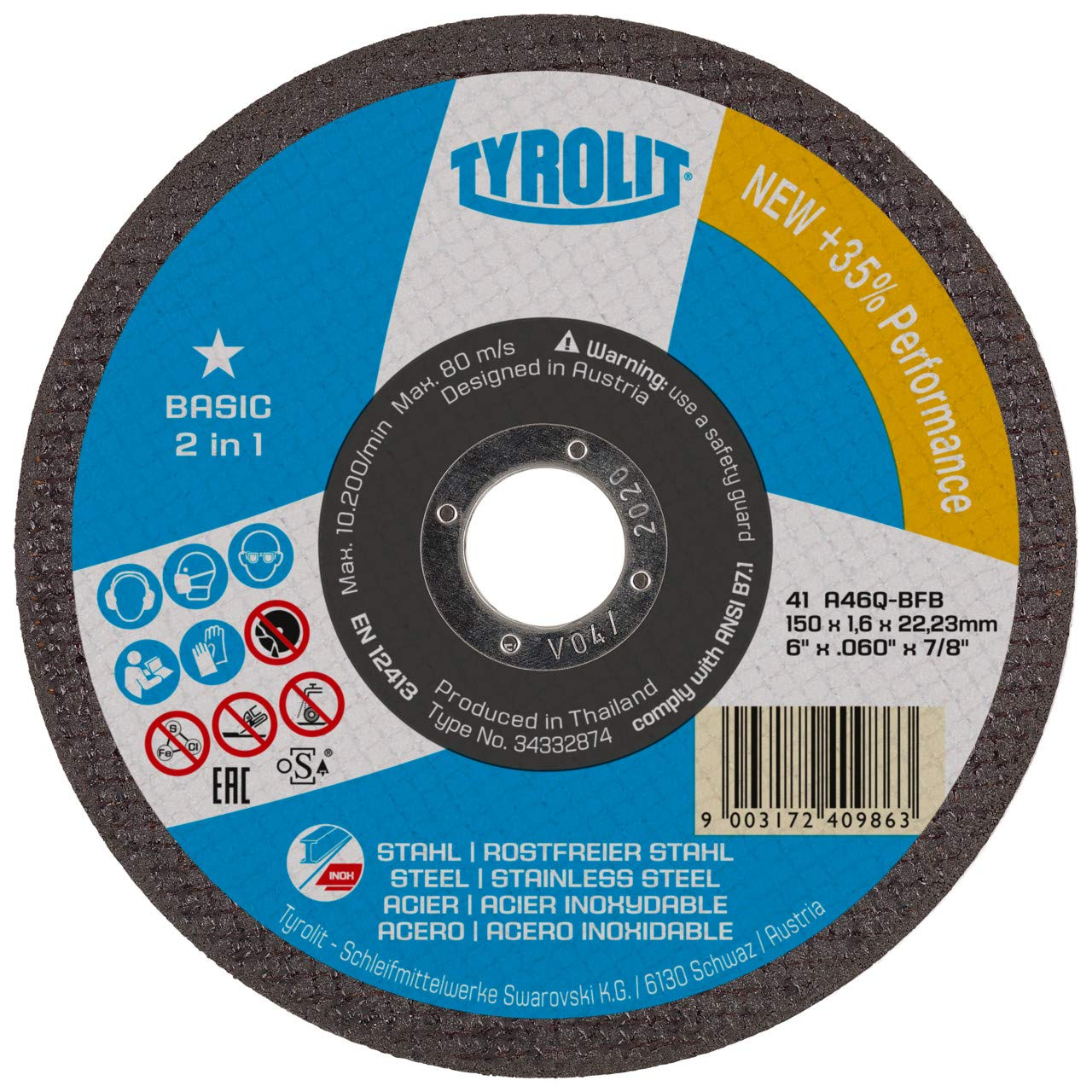 TYROLIT 299270 2 In 1 Cutting Disc for Steel 75 mm Pack of 100