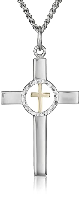 69f5c19a56b Image Unavailable. Image not available for. Color  Men s Sterling Silver  Two-Tone Cross Pendant Necklace with Pierced Cross and Stainless Steel Chain