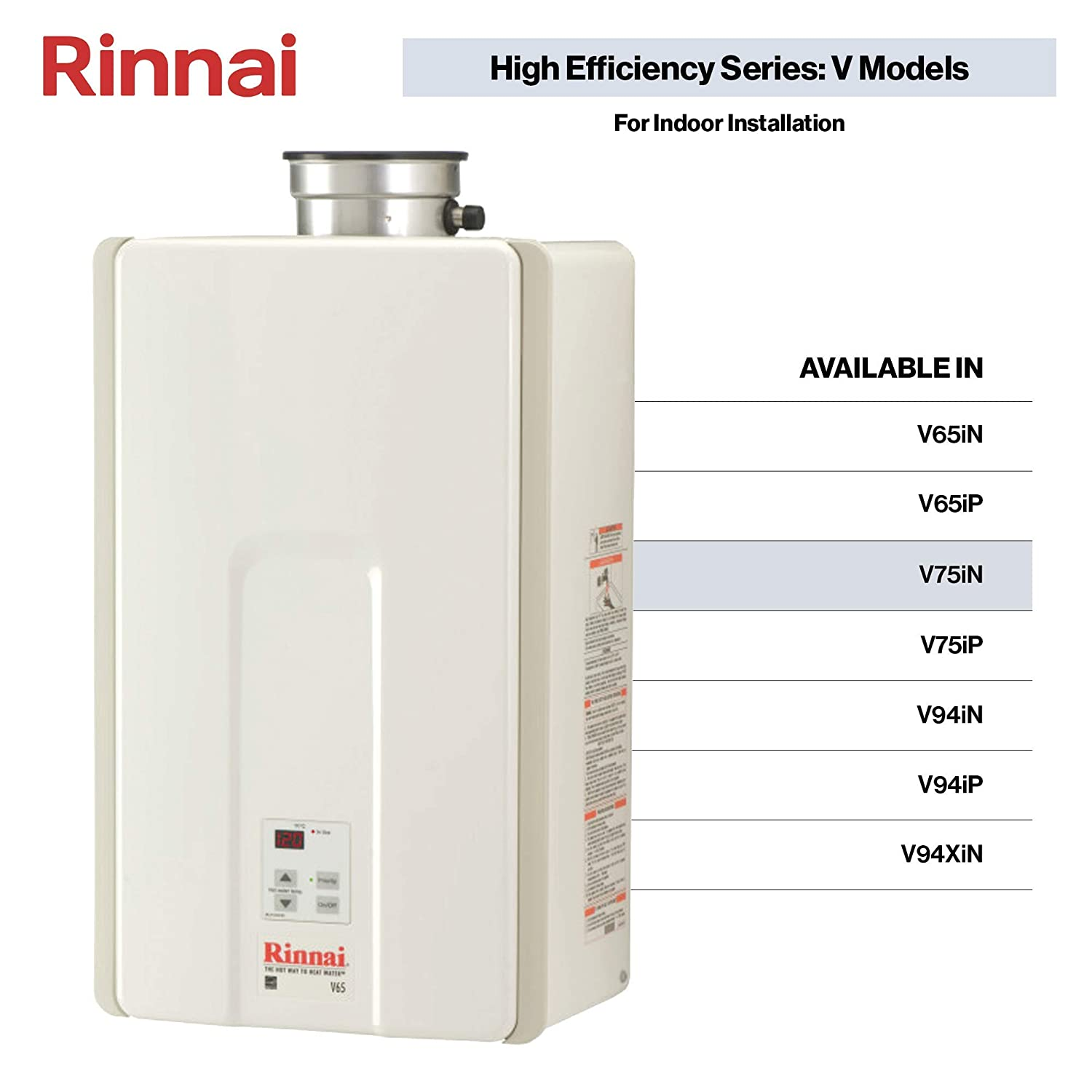 Rinnai V75iN Tankless Hot Water Heater, Large, V75iN-Natural Gas/7 5 GPM