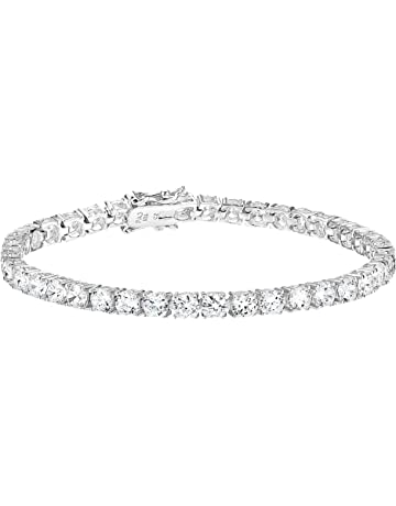 0978257f5 Amazon Essentials Plated Sterling Silver Round Cut Cubic Zirconia Tennis  Bracelet