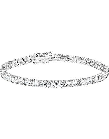 c41fd0a45 Amazon Essentials Plated Sterling Silver Round Cut Cubic Zirconia Tennis  Bracelet