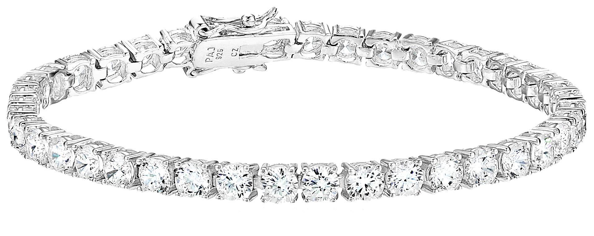 Amazon Essentials Platinum Plated Sterling Silver Round Cut Cubic Zirconia Tennis Bracelet (4mm), 7''