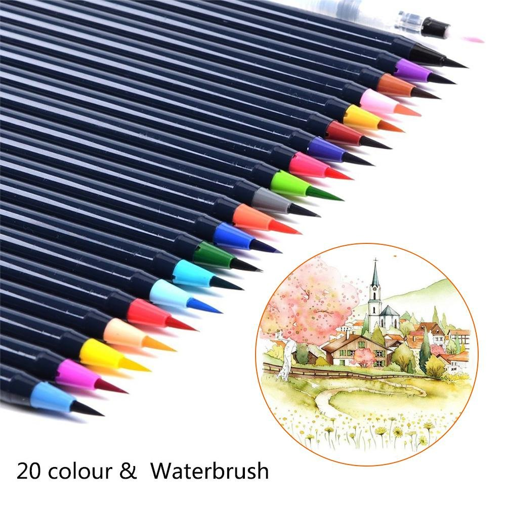 Umiwe Watercolor Brush Pens Set, Paint Pens Soft Flexible Tip Watercolor Pens Brush Markers for Adult Colouring Books/Manga/Comic/Calligraphy