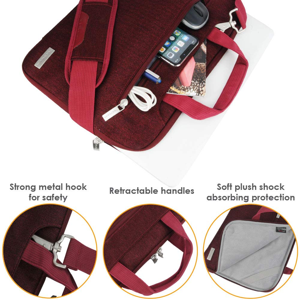Portable Sleeve Organiser Case Cover TECHGEAR Case for 11-12.3 Laptops Luggage Strap /& Suppressible Handles Pockets PINK Portable Multi-functional Laptop Case with Adjustable Shoulder Strap