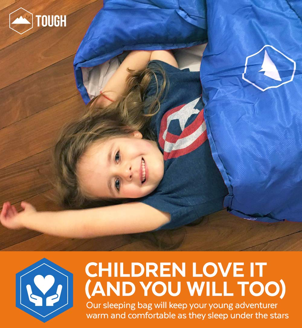 """Tough Outdoors Kids Sleeping Bag for Girls, Boys, Youth & Teens - Perfect for Warm & Cool Weather Camping, Children's Sleepovers & Nap Time - 3-Season, Lightweight & Compact - Fits Kids up to 5'1"""" 3"""
