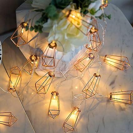 wholesale dealer 1f596 82931 Samyoung Diamond String Lights 10 LED 5.7ft Geometric String Lights Warm  White, Rose Gold Metal Lamps Decor for Indoor Party Wedding Bedroom Garden  ...
