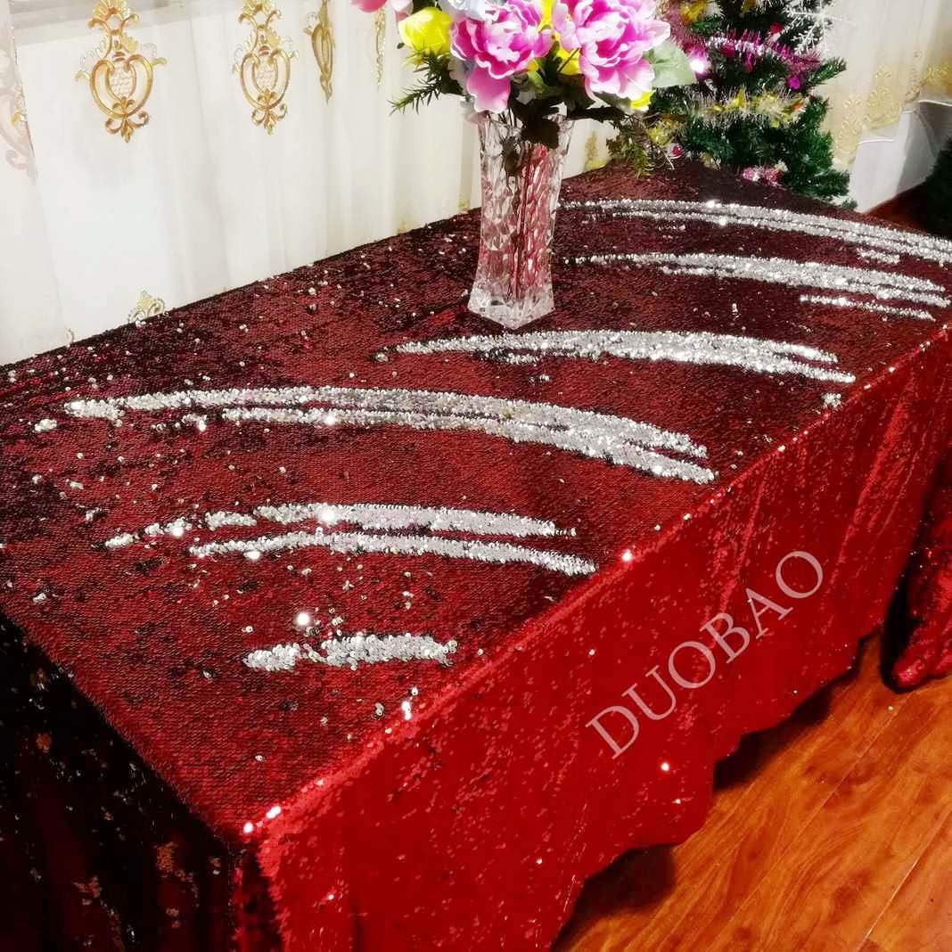 DUOBAO 72x108-Inch Rectangle Sequin Tablecloth Red to Silver Glitter Table Cloths Mermaid Sequin Table Cover for wedding/party/birthday-0612H