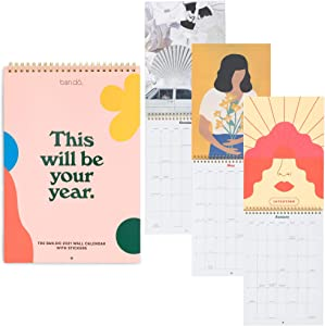 Ban.do Best Year Ever 2021 Wall Calendar with Stickers, Hanging Planner Covers January 2020 - December 2020, This Will Be Your Year