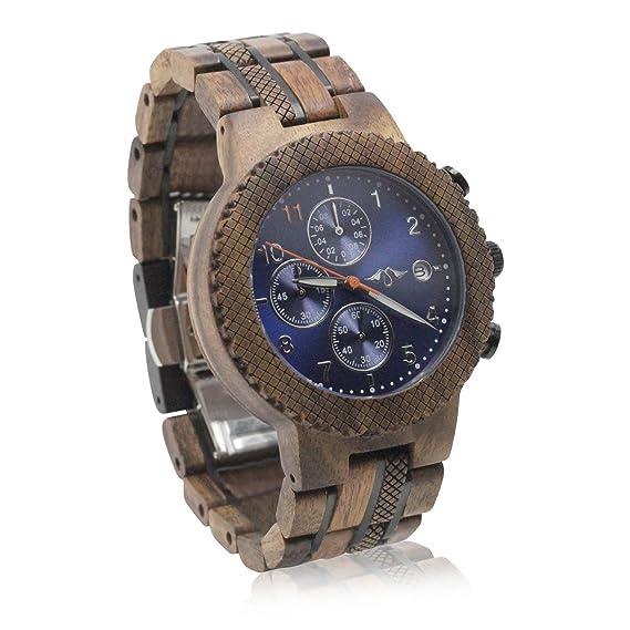 Angie Wood Creations Reloj de madera y acero para hombre con pulsera ajustable