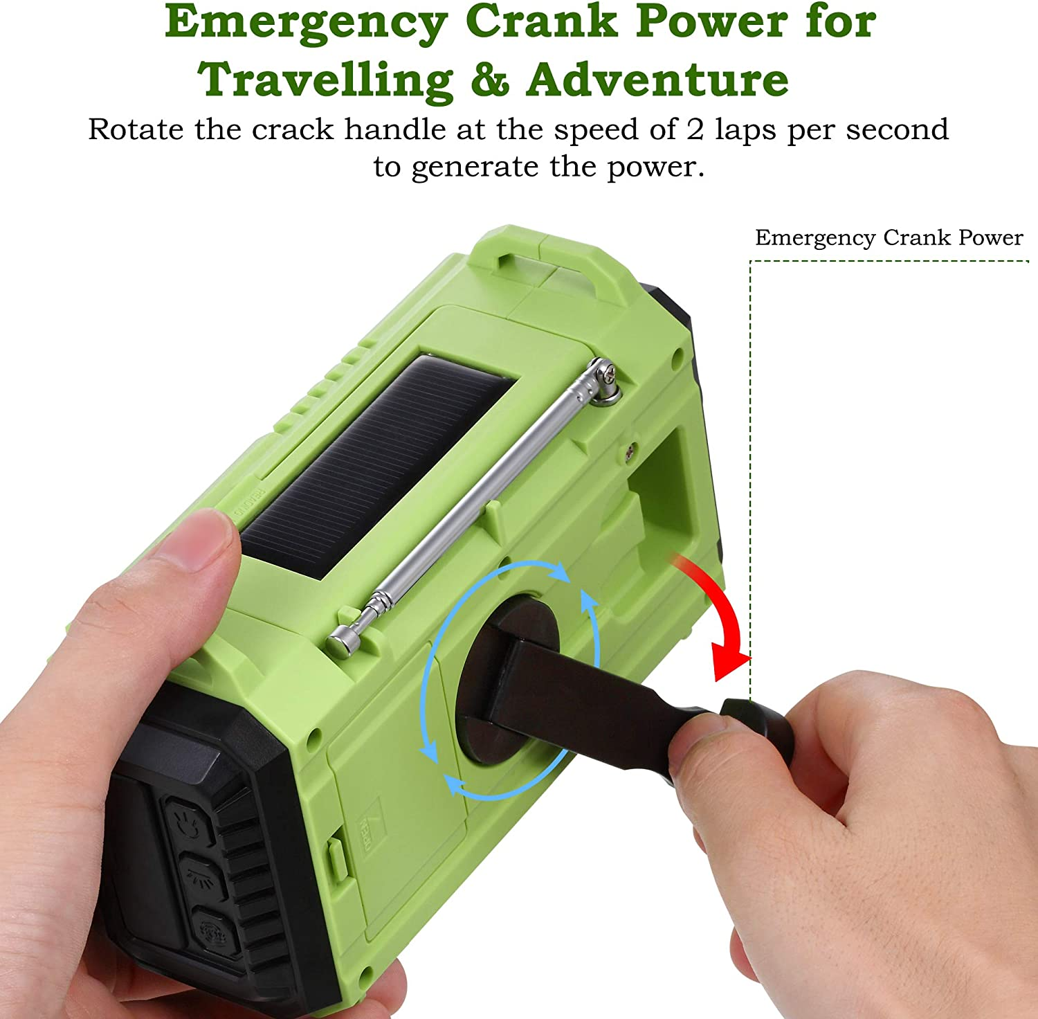 Portable 5-Way Weather Radio With Solar NOAA//AM//FM//SW Radio SOS Alarm USB Connection for Charging the Mobile Phone in Emergency Dynamo Hand Crank Led Camping Light Compass Power Bank