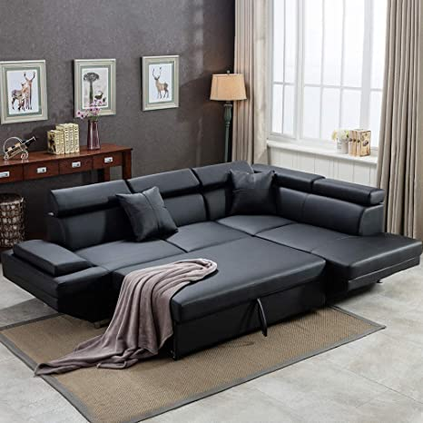 FDW Sectional Futon Modern Contemporary Right Faux Leather Sofa, Black