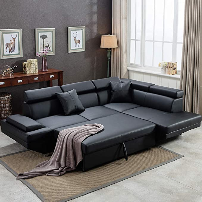 FDW Sofa Sectional Bed Sleeper Living Room Furniture Set Leather Futon  Couch Modern Contemporary Upholstered for Home, Corner R, Black