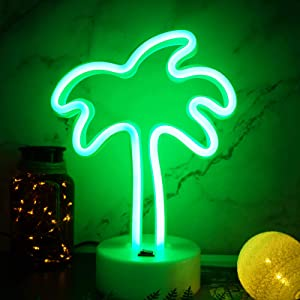 YIVIYAR Neon Light Signs LED Coconut Tree Light Palm Tree Neon Light LED Night Light USB & Battery Coconut Palm tree Neon Sign Bedroom Accessories Living Room Decor Party Decoration (Coconut Tree)