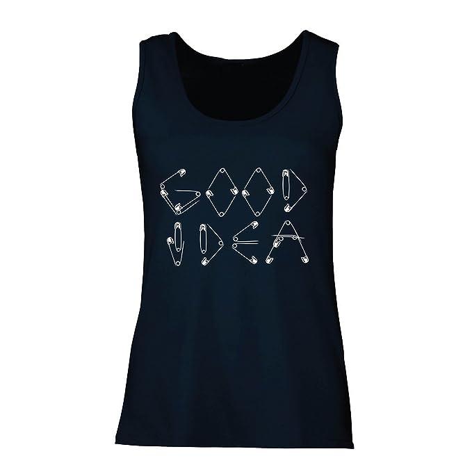 Camisetas sin Mangas para Mujer Una Idea Buena - Diseño Divertido para Frikis y empollón,