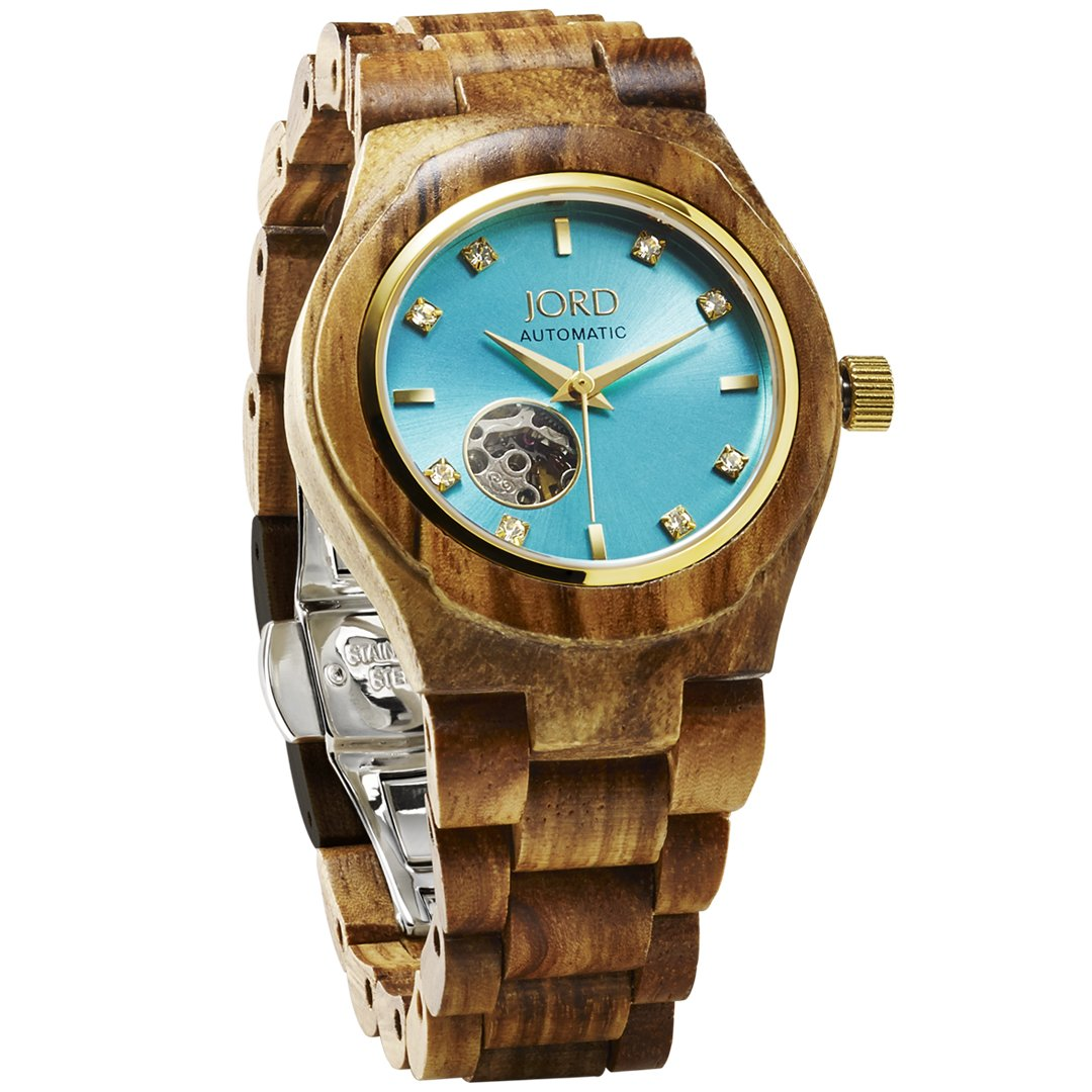 JORD Wooden Watches for Women - Cora Series Skeleton Automatic / Wood Watch Band / Wood Bezel / Self Winding Movement - Includes Wood Watch Box (Zebrawood & Turqoise)