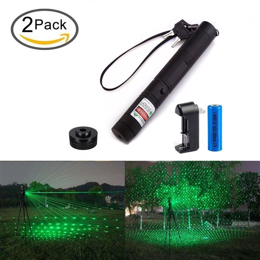 2PACK Green L-a-s-e-r Pen Flashlight, L301 Portable Ultra Bright Handheld LED Flashlight, Outdoor Water Resistant Torch, Powered Tactical Flashlight for Camping Hiking etc