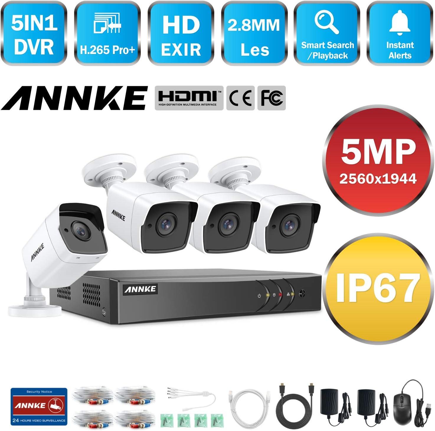 y 8/×5MP HD C/ámaras de vigilancia IP67 Impermeable Alerta por Correo electr/ónico con instant/áneas Acceso remoto-2TB HDD ANNKE Kit Sistema de Seguridad 8CH DVR Ultra HD 5MP Lite H.265Pro
