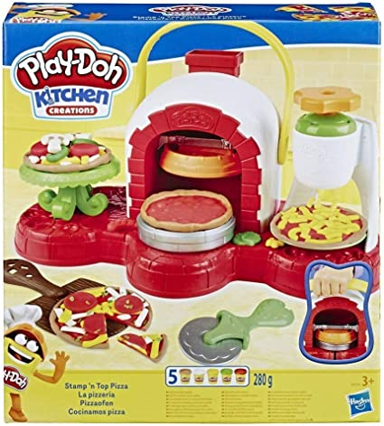 Play Doh Stamp N Top Pizza Oven Toy With 5 Non Toxic Play Doh Multicolours