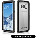 Samsung Galaxy S8 Waterproof Case, UBeesize Transparent-back ShockProof Protective Case with Dirtproof Snowproof Full Body Cover for Galaxy S8 (5.8 inches)