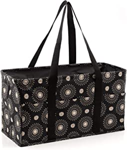 Pursetti Extra Large Utility Tote Bag for Women with 6 Exterior PocketsPerfect as Beach Bag, Pool Bag, Laundry Bag, Storage Tote for Ballgame, Beach, Pool, Home Dorm (Cool Mandala)