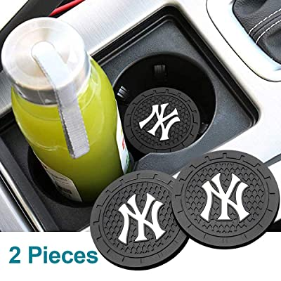 Wall Stickz Auto Parts 2PCS 2.75 Inch with American Baseball Team logoTough Auto Cup Holder Mat Anti Slip Coaster Durable Car Interior Accessories for All Brands of Cars (New York Yankees): Automotive