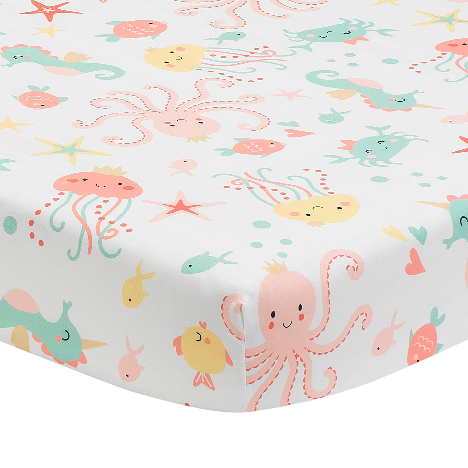 Bedtime Originals Ocean Mist Fitted Crib Sheet, Multicolor