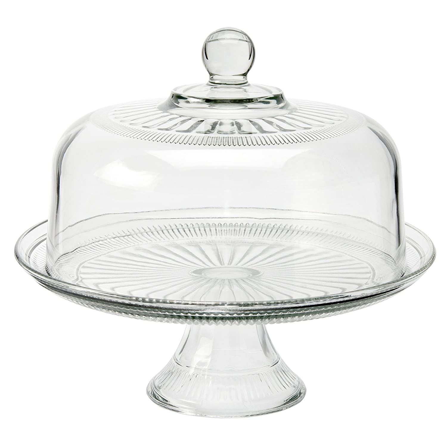 Anchor Hocking Annapolis 2 In 1 Glass Cake Stand & Dome Set Punch